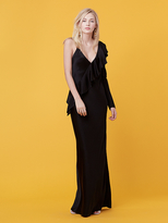 Diane von Furstenberg Asymmetric Ruffle Sleeve Floor Length Dress