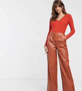 Glamorous wide leg pants in soft faux leather