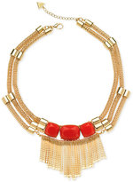 GUESS Gold-Tone Resin Stone and Fringe Statement Necklace
