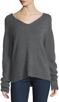 Neiman Marcus Cashmere Basic Pullover Sweater, Gray, Plus Size