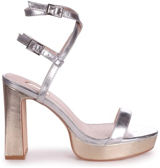Chloé Linzi Silver & Gold Metallic Platform Heels With Double Crossover Ankle Straps