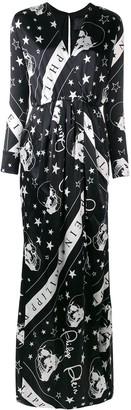 Philipp Plein skull print wrap dress