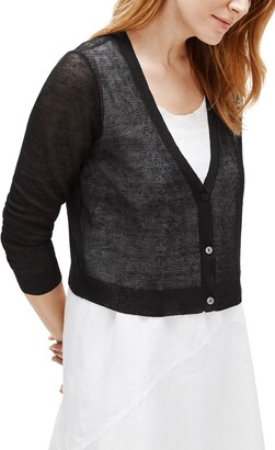 Eileen Fisher Organic Linen Blend Crepe Crop Cardigan