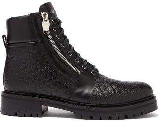 Balmain Monogram-debossed Leather Ranger Boots - Black