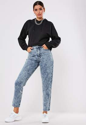 Missguided Light Blue High Rise Acid Wash Mom Jeans