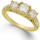 TruMiracle Diamond Three-Stone Ring (1 ct. t.w.) in 14k White, Yellow or Rose Gold