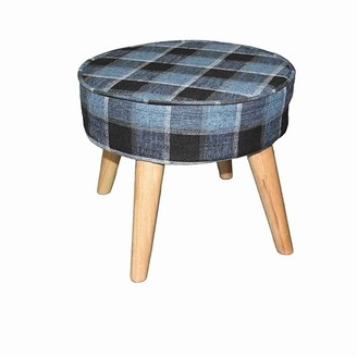 Overstock Fabric Upholstered Wooden Footstool with Dowel Legs, Blue and Brown