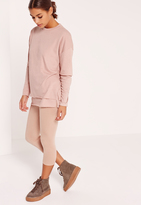 Missguided Petite Double Layer Raw Edge Sweater Pink