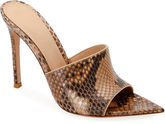 Gianvito Rossi Pointed Python High-Heel Slide Sandals
