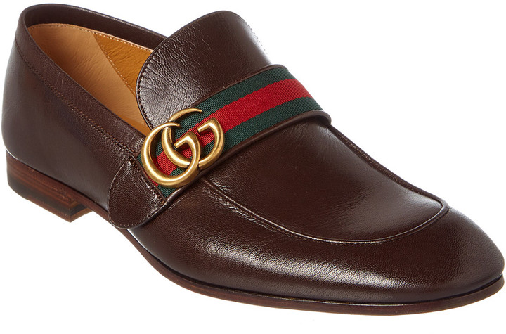 Gucci Gg Web Leather Loafer - ShopStyle