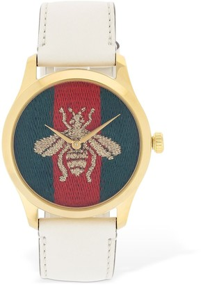 Gucci Embroidered Bee Leather Watch
