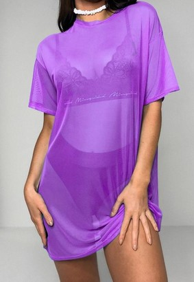 Missguided Lilac Oversized Mesh T Shirt Dress