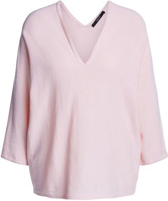 Set Fashion - Oversized Pink Cotton Deep V Neck Jumper - 40 - Pink
