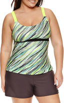ZeroXposur Stripe Tankini Swimsuit Top-Plus
