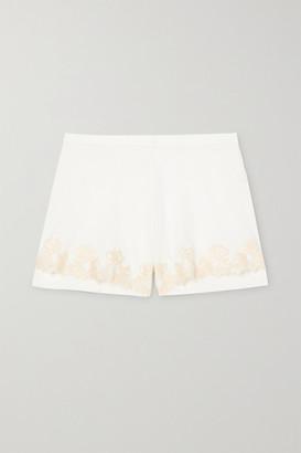 La Perla Brenda Lace-trimmed Satin-jersey Pajama Shorts - White