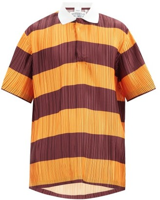 Burberry Striped Plisse-pleated Polo Shirt - Red Multi