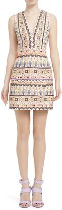 Alice + Olivia Patty Embroidered V-Neck Sleeveless Mini Dress