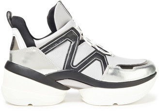 MICHAEL Michael Kors Olympia Leather, Mesh And Neoprene High-top Sneakers