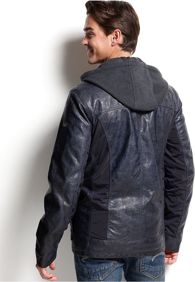 GUESS Faux-Leather Knit-Hood Jacket
