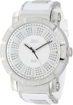 "JBW Men's JB-6225-E ""562"" Pave Dial Diamond White Rubber Watch"