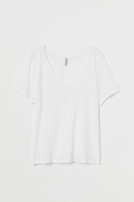 H&M V-neck T-shirt - White