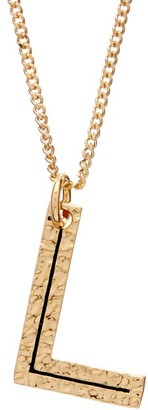 Burberry Hammered L-charm Gold-plated Necklace - Womens - Gold