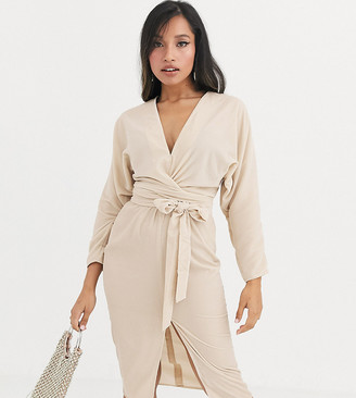 Asos DESIGN Petite midi dress with batwing sleeve and wrap waist in velvet-Cream