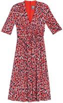 Vince Camuto 3/4 Sleeve Printed Midi Dress