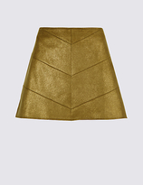 M&S Collection Faux Leather Chevron A-Line Mini Skirt
