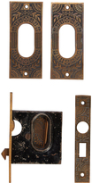 Rejuvenation Ornate Cast Pocket Door Pulls w/ Mortise Lock