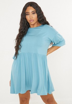 Missguided Plus Size Blue Smock T Shirt Dress