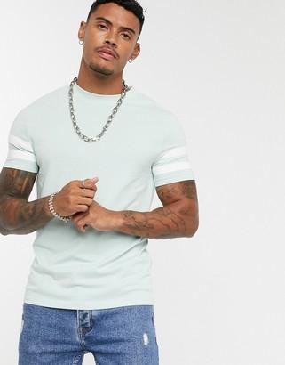Asos Design DESIGN organic skinny t-shirt with contrast sleeve stripes-Grey