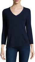 Neiman Marcus Cashmere V-Neck Basic Sweater, Navy