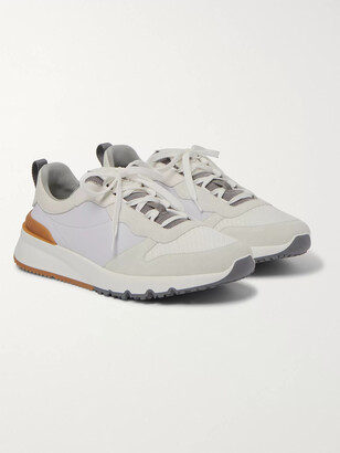 Brunello Cucinelli Leather-Trimmed Suede, Neoprene And Mesh Sneakers