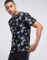 New Look T-Shirt With Dark Palm Print In Navy