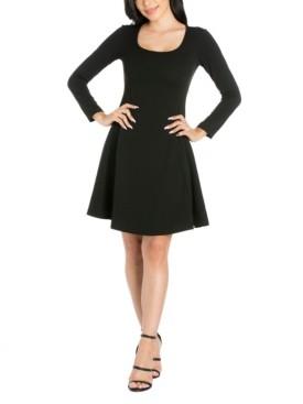 24seven Comfort Apparel Women's Long Sleeve Knee Length Skater Dress