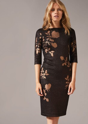 Phase Eight Farah Floral Foil Fitted Dress