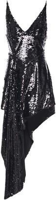16Arlington Asymmetric Draped Sequined Georgette Mini Dress