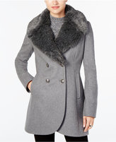 French Connection Faux-Fur-Collar Wool-Blend Walker Coat