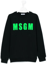 MSGM green logo sweatshirt - kids - Cotton - 14 yrs