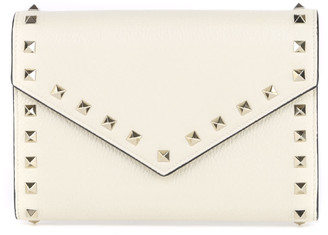 Valentino Rockstud Grainy Leather Wallet With Chain Strap
