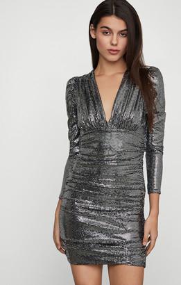 BCBGMAXAZRIA Ruched Metallic Mini Dress