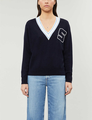 Sandro Valli logo-intarsia wool and cashmere jumper