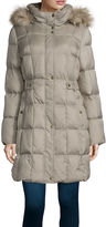 Liz Claiborne Sidetab Puffer with Fur Collar
