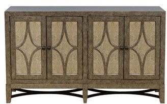 Home Meridian Four Door Mirrored Console in Antiqued Silver