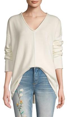 BCBGMAXAZRIA V-Neck Cotton-Blend Sweater