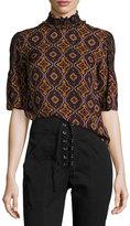 A.L.C. Miranda Printed Smocked-Collar Short-Sleeve Silk Top