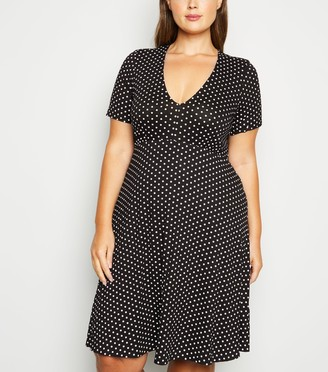 New Look Curves Spot Empire Jersey Dress