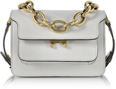 Marni Pelican Gray Leather Mini Trunk Bag w/Chain