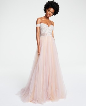 Glamour By Terani Juniors' Off-The-Shoulder Tulle Gown